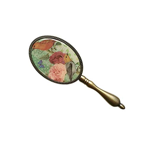SZQ-wandspiegel handspiegel, retro-metalen handgreep make-upspiegel, vogels en bloemenpatroon meisjesslaapzaal kamer-schoonheidsspiegel geschikt voor Carry 7 * 19 cm spiegel