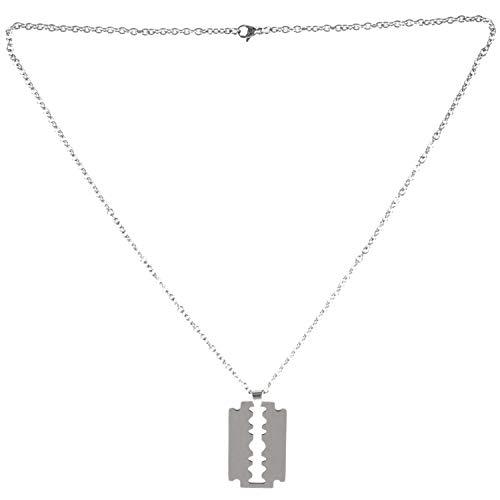 Cikuso Acero Inoxidable Colgante Collar Plata Cuchilla Navaja Punk Roca Hombre,Cadena 58cm