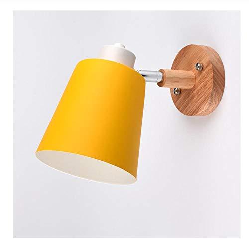 Lampada da parete moderna in legno Illuminazione per interni in stile nordico Applique da parete a LED per bambini che leggono comodino Camera da letto gialla