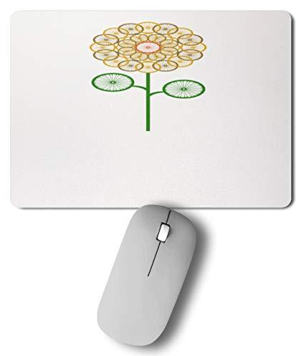 SPIRITSHIRTSHOP Fleur Roue Vert, Jaune, Orange, Tournesol Motocycliste, Homme Femme - Mousepad - - 27 cm x 19 cm