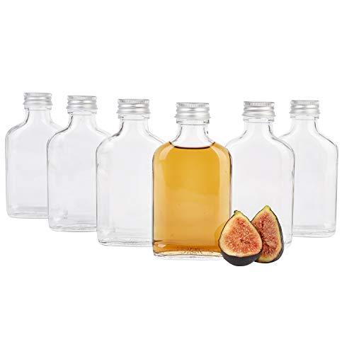 MamboCat 6er Set Taschenflasche 100 ml I Silberne Schraubdeckel I XL-Flachmann I Likörflasche I Schnapsflasche I Fläschchen für Alkohol, Spirituosen, Essig & Öl