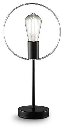 loxomo - ringlamp, 22 x 12 x 43, tafellamp met chromen ring voor slaapkamer, woonkamer, eetkamer, tot max.60W, decoratieve lamp met E27 stopcontact, IP20, zwart/chroom