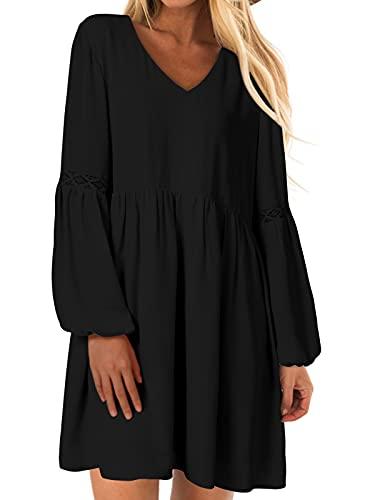 YOINS Sexy Kleid Damen Sommerkleid für Damen Babydoll Kleider Brautkleid Tshirt Kleid Rundhals Langarm Minikleid Langes Shirt Lose Tunika Strandkleid Baumwolle-schwarz S