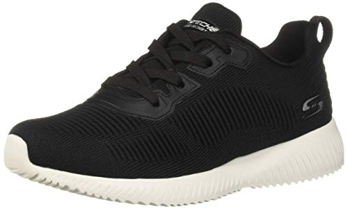 Skechers Damen Bobs Squad-Tough Talk-32504 Sneaker, Black Engineered Knit, 38.5 EU