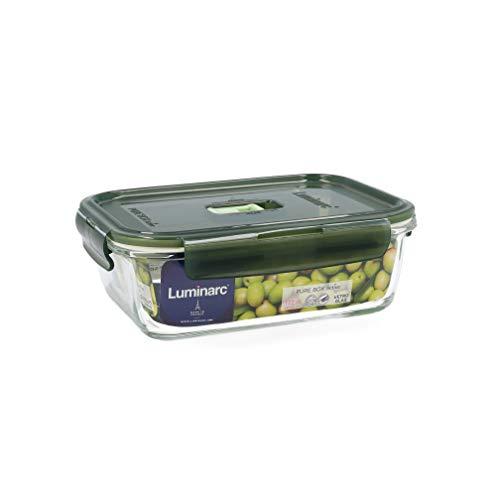 Luminarc Pure Box Active Recipiente hermético rectangular de vidrio, 122cl, color oliva
