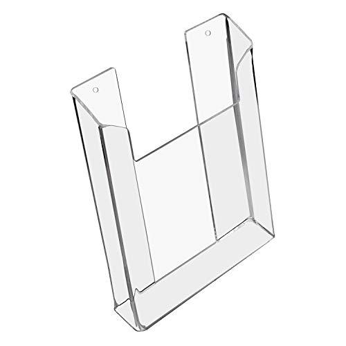 HMF 46842 - Porta brochure da parete in acrilico, formato DIN A5, formato verticale, 16,5 x 21 x 3,5 cm, trasparente