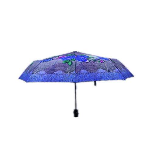 Y-S Faltbare Regenschirme Gitter Druck Sonnenschirm Regenschirm Sonnenschutz Ultravioletter Schutz Männer und Frauen Regen und Sonnenschein Zweifach Zweck a, d