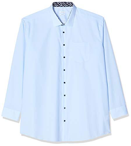 Seidensticker Herren Einfarbiges Hemd mit hohem Kent-Kragen – Passform Regular Fit – Langarm – 100% Baumwolle Businesshemd, Blau (Hellblau 14), (Herstellergröße: 39)