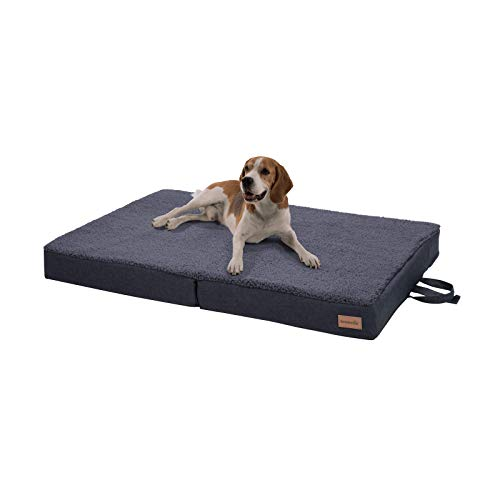 Cama para perros plegable Paco en gris, lavable, ortopédica y antideslizante, cojín para perros con espuma de memoria transpirable, tamaño L, 100 x 70 cm