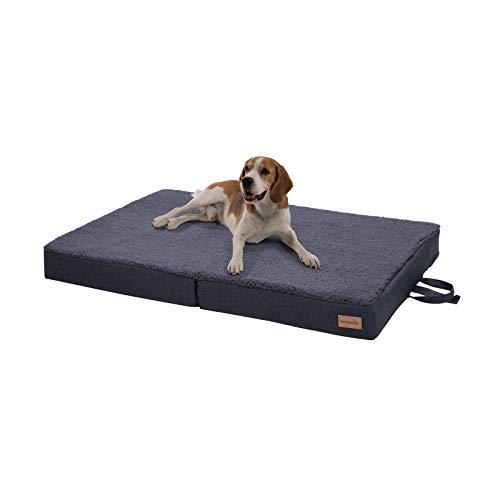brunolie Paco klappbares Hundebett in Grau, waschbar, orthopädisch und rutschfest,...