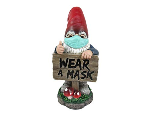 World of Wonders Gnaughty Gnomes Masked Series Garden Gnomes | Outdoor Statues | Face Mask Statue | Garden Decor | Garden Decor for Outside - in This Together 10'