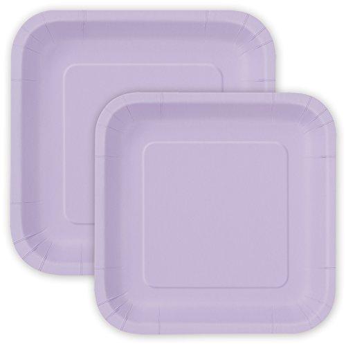 Party Pappteller Quadratisch Lavendel 18 cm + 23 cm - extra-stabil - 30 Einwegteller perfekt für Geburtstag, Party, Sommerfest, Kindergeburtstag & Co.