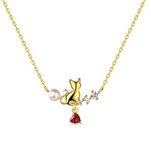 ZHANGQIAN Collar de Mujer, Collar Colgante de Gato de Perla cultivada con Acentos de Diamante en Plata esterlina