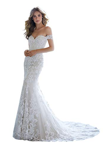 Women's Mermaid Wedding Dress for Bride Off The Shoulder Bridal Gown with Sleeves Size 2 Ivory