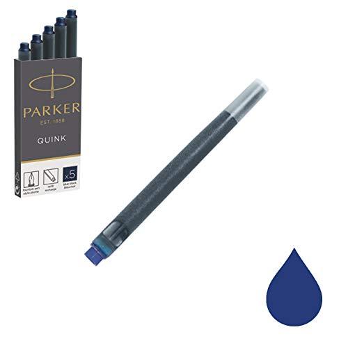 Parker Quink ricariche per penne stilografiche, cartucce lunghe, inchiostro blu/nero, confezione da 5