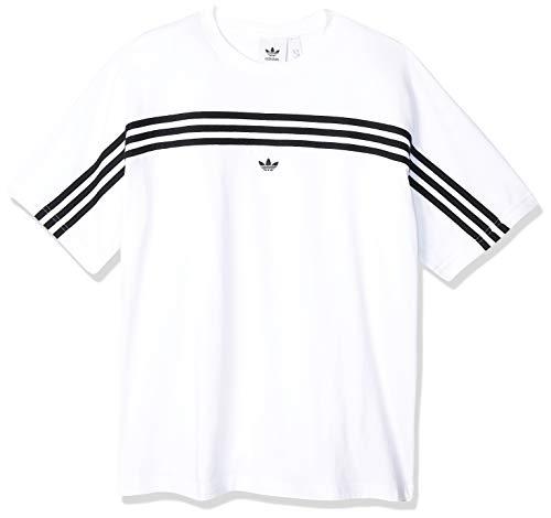 adidas 3stripe SS tee Camiseta de Manga Corta, Hombre, White/Black, L