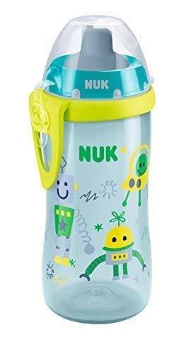 NUK 10255338 Flexi Cup Soft-Trinkhalm-Becher mit Silikon-Trinkhalm, 300 ml, auslaufsicher, ab 18 Monaten, BPA frei, blau-grün