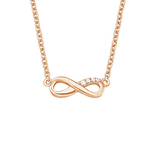 s.Oliver So Pure Women's Necklace 45 cm with Infinity Pendant 925 Sterling Silver Rose Gold-Plated Zirconia White