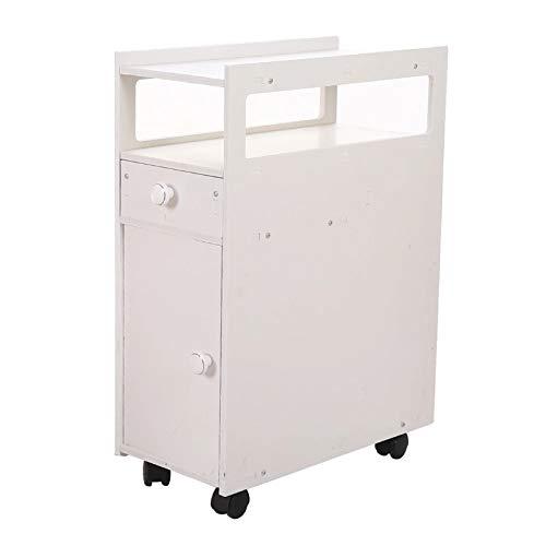 Armarios de Baño Gabinete de baño con marco de gabinete estrecho y 4 ruedas, fácil de montar el gabinete de baño resistente y duradero Fácil de Instalar ( Color : White , Size : 24.8x17.7x8.6 inch )