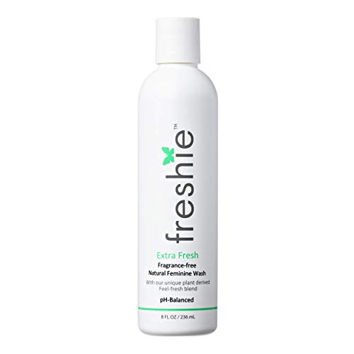 freshie Natural Feminine Care pH-Balanced Cleansing Wash Odor-Blocking Plant-Based Ingredients External Vaginal Hygiene Cleanser 8 fl Ounces (Extra Fresh)