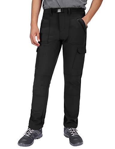DISHANG Pantalones de Carga Forrados de Vellón para Hombre Pantalones de Senderismo de Invierno Aislados con Bolsillos con Cremallera Esquí para Nieve al Aire Libre Repelentes al Agua (Negro, 40)