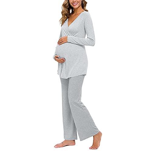 XYSQWZ Conjunto de Pijamas de Maternidad para Mujer Sólido...