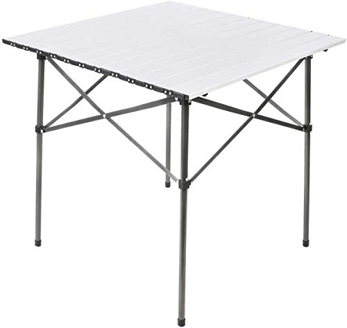 EVER ADVANCED Table Pliable Légère en Aluminium avec Sac de Transport pour Camping, Pique-nique,Jardin Barbecue Blanche