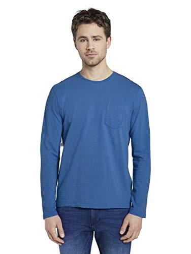 TOM TAILOR Herren T-Shirts/Tops Gestreiftes Langarmshirt mit Struktur Electric Teal Blue,XXL