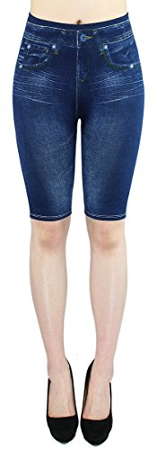 dy_mode Damen Capri Leggings Sommer Jeggings Kurze Leggings Frauen in Jeans Optik - 2LG100 (2LG101-Simple)