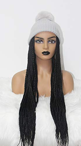 BENEFLY Warm Soft Stretch Knit Beanie Hat with Dismountable Long Synthetic Hair Box Braids Wig (Gray Beanie With Black Braids)