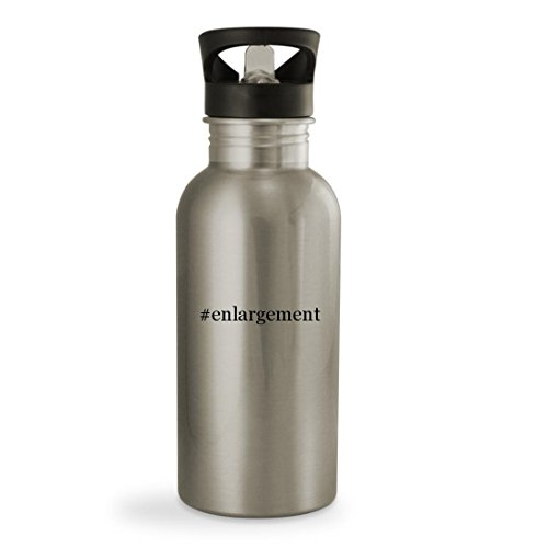Knick Knack Gifts #Enlargement - 20oz Hashtag Sturdy Stainless Steel Water Bottle, Silver