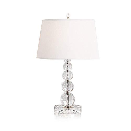 Lámpara de Mesa de Iluminación Decorativa Interior Lámpara de mesa, hogar de la lámpara de mesa cromo decorativo de la sala de noche de cristal, lámparas de mesa con blanco cortina de la tela for el d
