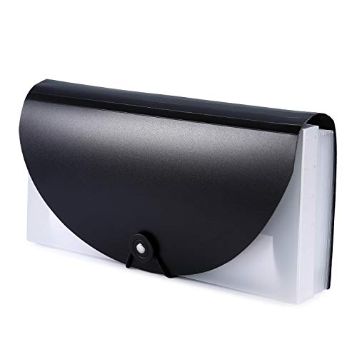A6 Small Expanding Portable Hand-Held Accordian File Folder File Organizer Wallet for Cards Coupons Receipt Tax Item or Changes, 10.32X5.31 inches, 13 Pockets (Black)