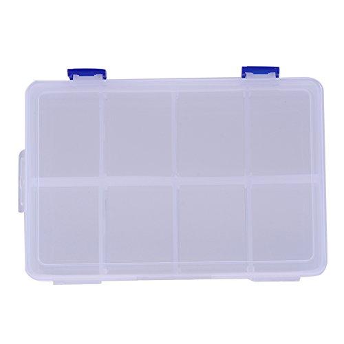La Cabina Réglable 8 Compartiment Boîte de Rangement en Plastique Cas de Boucle (blanc)
