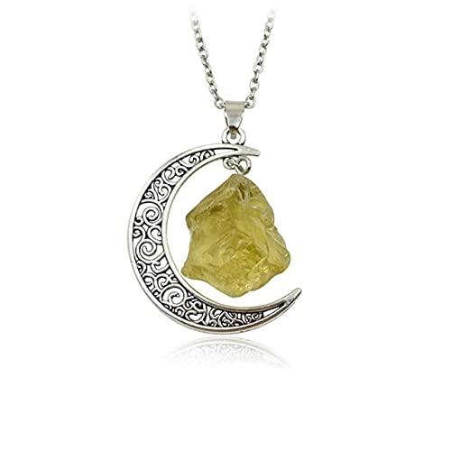 Minyose Collar de Luna de Piedra Simple Original Cuarzo Irregular Vintage con Cadena de 18 Pulgadas