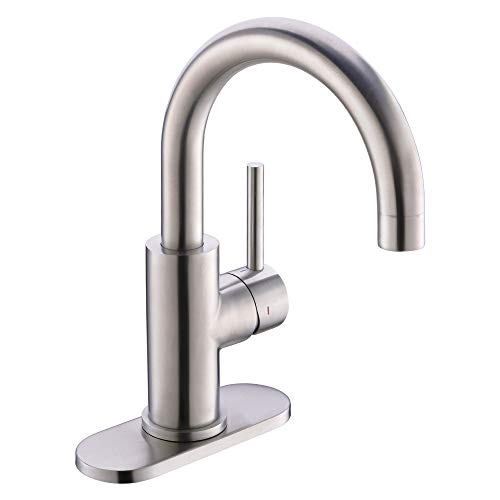 Crea Bathroom Kitchen Faucet Brushed Nickel , Bar Sink Faucet Tap Stainless Steel Farmhouse Vanity Sink Lavatory Single Hole Faucets Lead-Free Tap