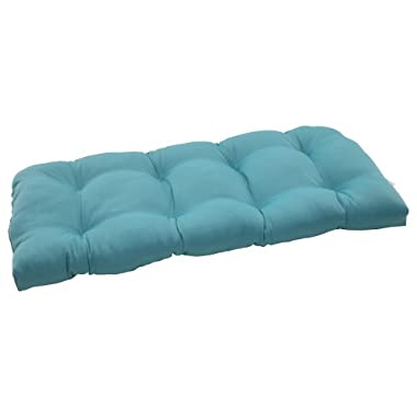 Pillow Perfect Indoor/Outdoor Forsyth Wicker Loveseat Cushion, Turquoise