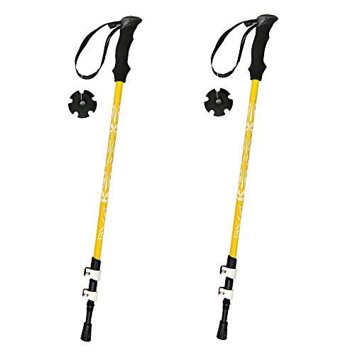 Walkingstöcke- Wanderstöcke - Leicht Verstellbare Teleskopstöcke Für Trekking Und Wanderungen Verstellbar 51-110cm 1 Paar,Yellow