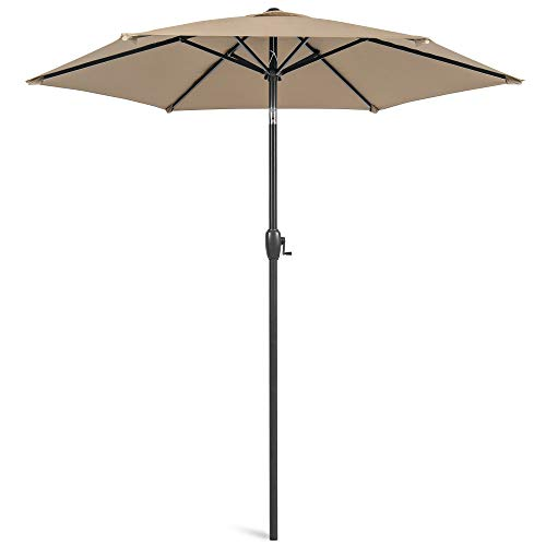 Best Choice Products 7.5ft Heavy-Duty Round Outdoor Market Patio Umbrella w/Steel Pole, Push Button Tilt, Easy Crank Lift - Tan