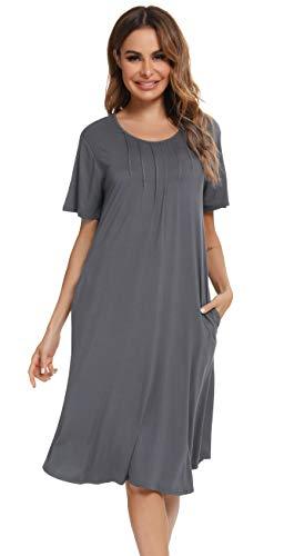 Vlazom Nachthemd Damen Kurzarm Nachtkleid 100% Modal Schlafhemd mit Taschen Rundausschnitt knielanges Nachthemd für Frauen(L,Dunkelgrau)