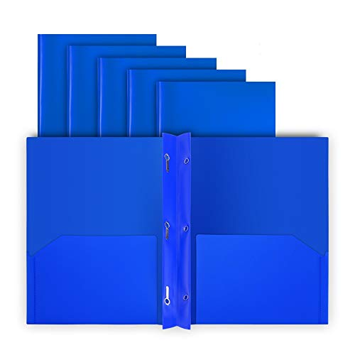 COMIX 2 Pocket Letter Size Poly File Plastics Folders with 3-Prong Fastners - 12 Packs (Blue)