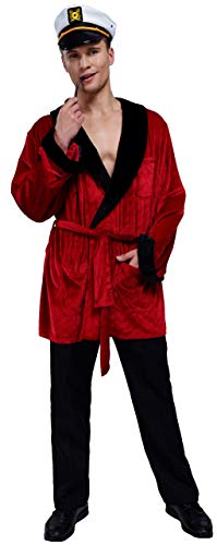 Men's Velvet Smoking Robe Jacket With Belt Includes Captain Hat and Toy Pipe Costume (Medium / Large)