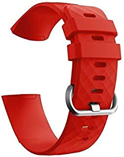 Brain Freezer Silicon Strap for Fitbit Charge 3 and Charge 3 SE, Large Red (Free Screen Guard) Watch Not Included