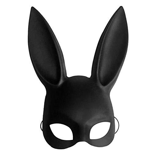 Máscara de conejo de Halloween para disfraz de Halloween, bola de conejo, máscara de oreja 38 x 18cm negro