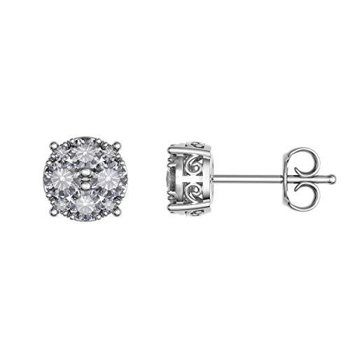 JewelsForum 0.50 Quilates Aretes De Diamantes Simples 1/2 Quilates De Oro Blanco Sólido De 14K Sobre Plata De Ley Aretes De Diamantes De Racimo Natural Para Mujeres (Chapado En Oro Blanco)