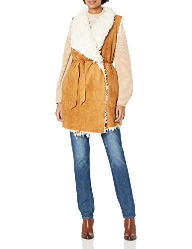 Somedays Lovin Women's Groover Waterfall Sherpa Vest, Camel, Medium