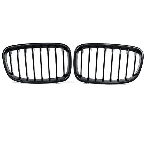 ZLNCJDM Grid de riñón de Parachoques, para BMW F20 F21 LCI 5D 1-Series 3D 120i 2015-2017 Racing Grille Negro Brillante 1 Llantas 1 Par de Frente de Coche,A Gloss Black 1 Slat
