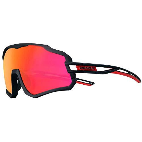 Gafas De Sol Polarizadas para Ciclismo con 3 Lentes Intercambiables UV400 Y Montura De TR-90, Gafas para MTB Bicicleta Montaña De Protección UV (negro)