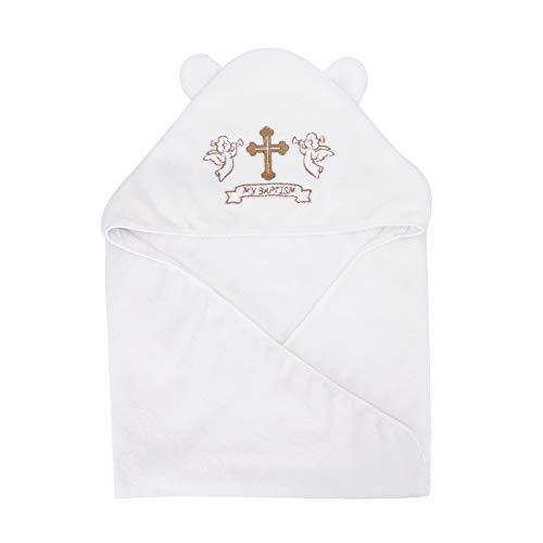 Estamico - Toallas de baño unisex con capucha para bebé, con cruz bordada y orejas bonitas, bautismo para bebés, niños y niños