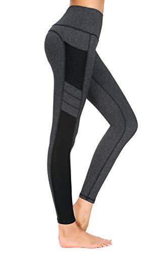 New Minc Damen Sporthose Sport leggings Tights mit Taschen Blickdichte Trainingshose Yogahose Sportleggins für Fitness Sport Freizeit, Dunkel Grau, M